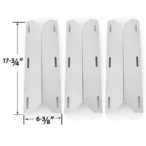 3 Pack Replacement Stainless Steel Heat Plate for Koblenz P-800, P-820, Member's Mark 720-0582, 720-0586, 720-0586A, Jenn-air, Nexgrill, Sams 720-0586A, Sterling Forge Chateau 3304, Estate 2704 & Lowes Gas Grill Models