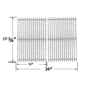 Stainless Steel Cooking Grid Replacement for Perfect Flame SLG2007B, SLG2007BN, 63033, 64876 and BBQTEK GSF2818K, GSF2818KL Gas Grill Models, Set of 2