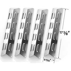 4 Pack Stainless Steel Heat Plate Replacement for Presidents Choice 10011012, GSS2520JA (10011012, NG 524636) , GSS2520JAN (PC 10011013, NG 903455), BroilChef GSS2520JA (06695002) , GSS2520JAN (06695007) & Tera Gear Gas Grill Models