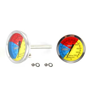 (2 Pack) 475F BBQ Charcoal Grill Smoker Pit Temperature Gauge Thermometer 2.5 Stem SS RWB