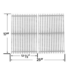 Stainless Steel Cooking Grid Replacement for Charbroil 463250509, 463250510, 461262409 and Broil-mate 8218TEXAN25, 8248TEXAN50 Gas Grill Models, Set of 2